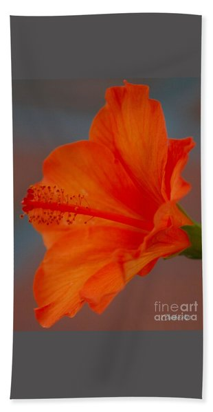 Hot Orange Hibiscus Hand Towel