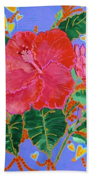 Hibiscus Motif Bath Towel