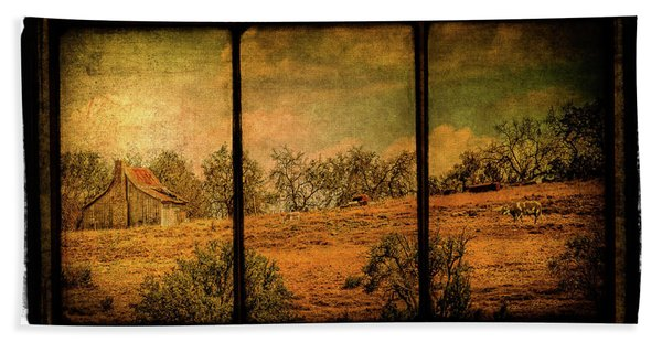 Hillside Farm Scene Triptych Bath Towel