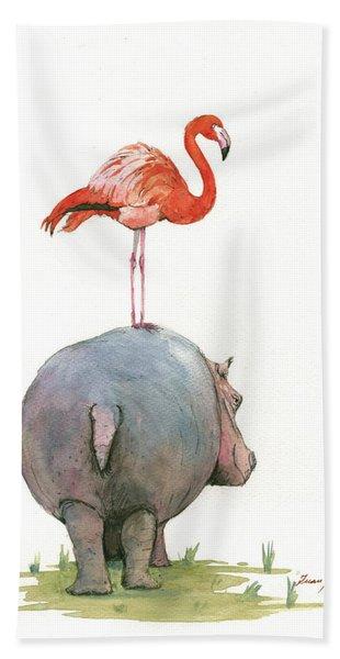 Hippo With Flamingo Hand Towel