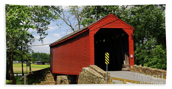 Historic Loys Station Covered Bridge Maryland Hand Towel