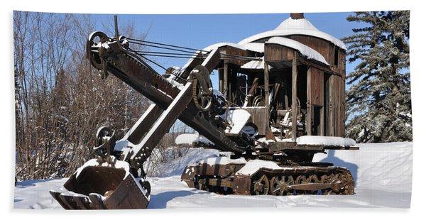 Historic Mining Steam Shovel During Alaska Winter Hand Towel