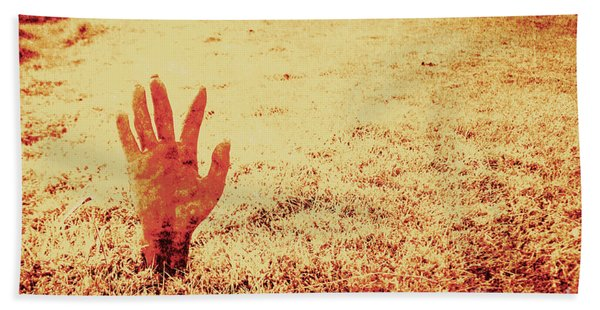 Horror Hand Of A Zombie Awakening Hand Towel