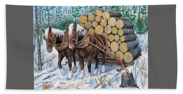 Horse Log Team Bath Towel