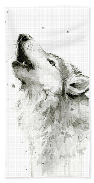 Howling Wolf Watercolor Bath Towel