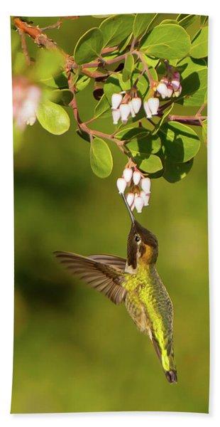 Hummingbird And Manzanita Blossom Bath Towel