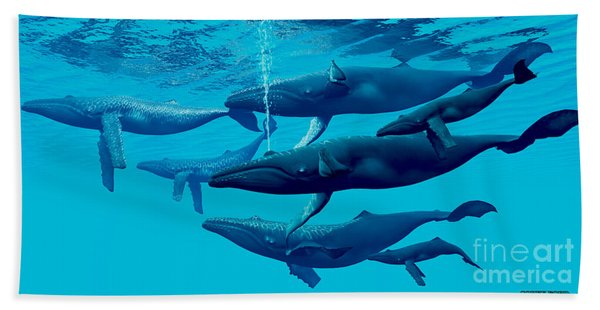 Humpback Whale Group Bath Towel