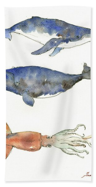 Humpback Whale, Right Whale And Squid Bath Towel