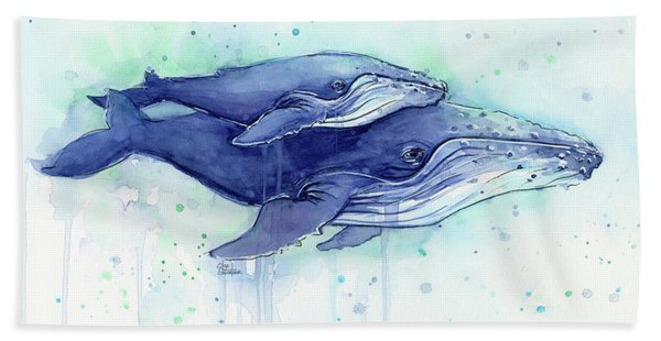 Humpback Whales Mom And Baby Watercolor Painting - Facing Right Bath Towel