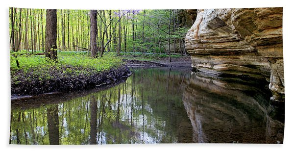 Illinois Canyon In Spring Starved Rock State Park Hand Towel