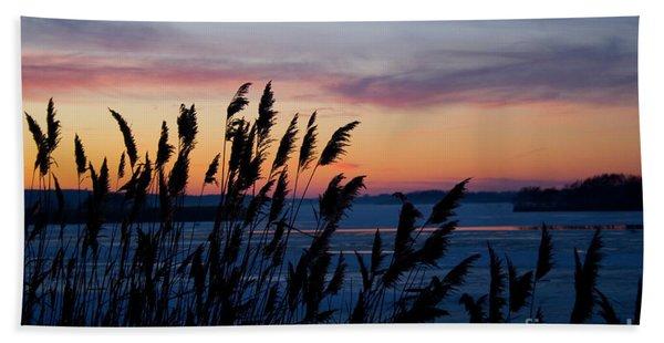 Illinois River Winter Sunset Hand Towel