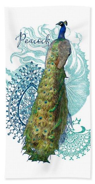 Indian Peacock Henna Design Paisley Swirls Hand Towel