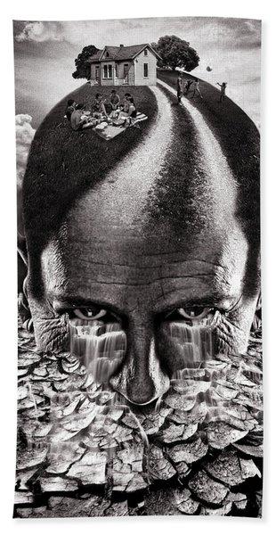Inhabited Head Gray Scale Bath Towel