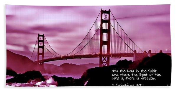 Inspirational - Nightfall At The Golden Gate Bath Towel