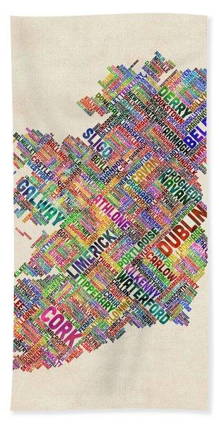 Ireland Eire City Text Map Derry Version Hand Towel