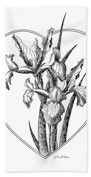 Iris Heart Drawing 3 Hand Towel