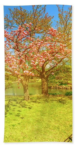 Japanese Garden Cherry Blossom Bath Towel