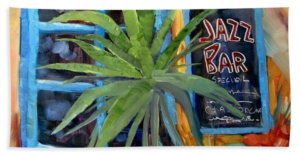 Jazz Bar In Santorini Bath Towel