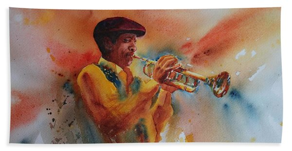 Hand Towel featuring the painting Jazz Man by Ruth Kamenev