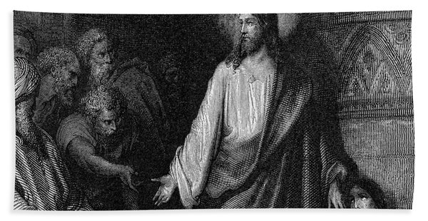 Jesus And The Woman Taken In Adultery Hand Towel