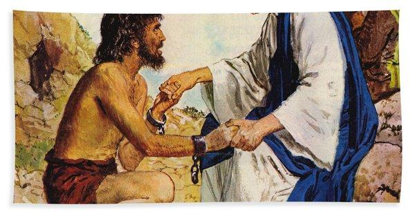 Jesus Christ Cures A Madman Hand Towel