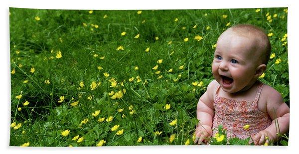 Bath Towel featuring the photograph Joyful Baby In Flowers by Lorraine Devon Wilke