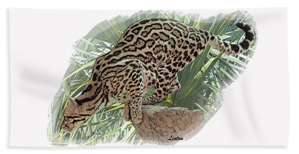 Bath Towel featuring the digital art Pouncing Ocelot by Larry Linton