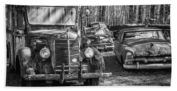 Junked Mack Truck Ad Old Plymouth Bath Towel