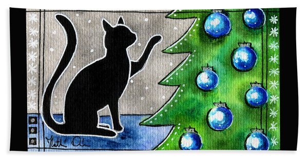 Just Counting Balls - Christmas Cat Bath Towel