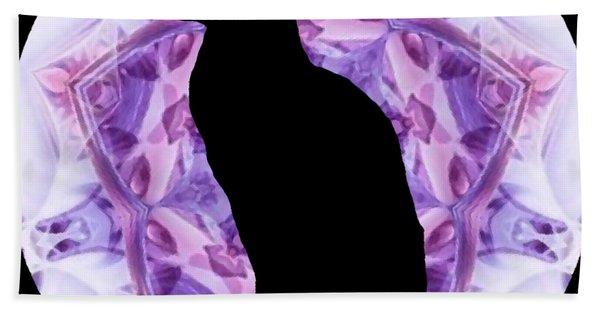 Kaleidoscope Cat Silhouette Bath Towel