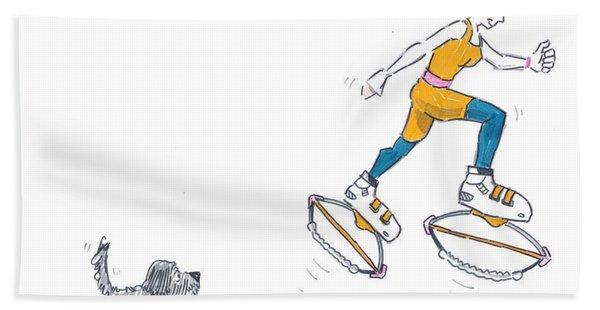 Kangoo Jumps Bouncy Shoes Walking The Dog Keep Fit Cartoon Bath Towel