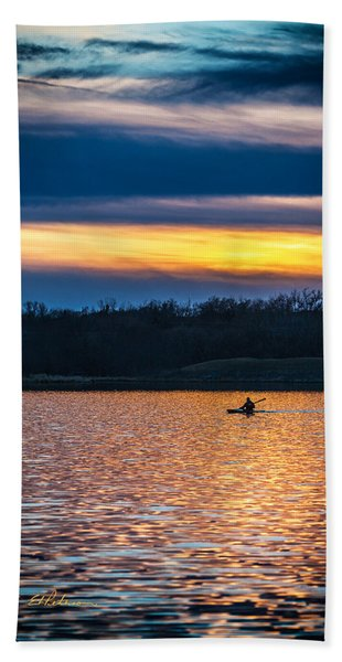 Kayak Sunset Hand Towel