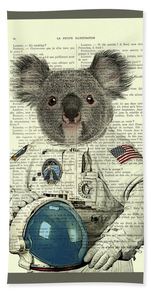 Koala In Space Illustration Hand Towel
