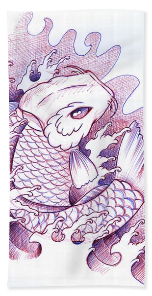 Koi Carp Tattoo Art Hand Towel