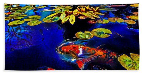 Koi In A Pond Of Water Lilies Hand Towel