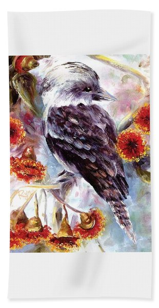 Kookaburra In Red Flowering Gum Bath Towel