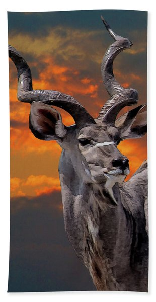 Bath Towel featuring the digital art Kudu At Sunset by Larry Linton