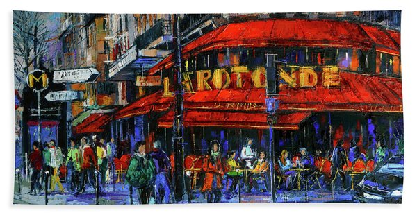 La Rotonde Paris Modern Impressionist Palette Knife Oil Painting Bath Towel