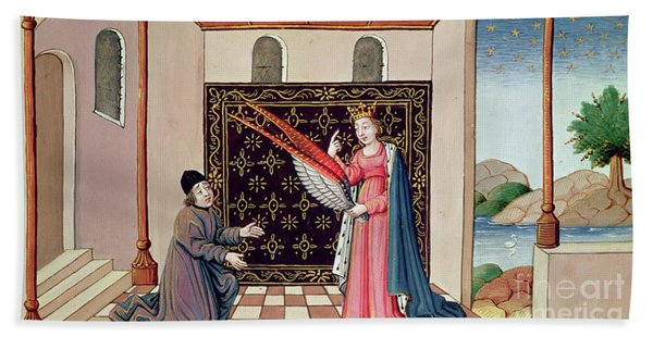 Lady Philosophy Offers To Boethius The Wings That Will Enable His Mind To Fly Aloft  Bath Towel
