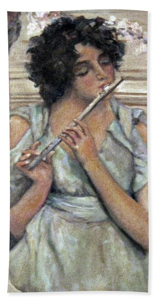Lady Playing Flute Bath Towel