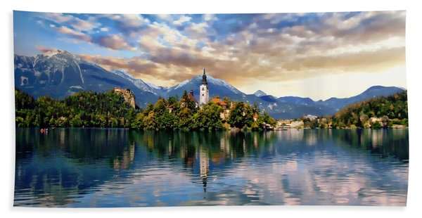 Lake Bled Autumn View Hand Towel
