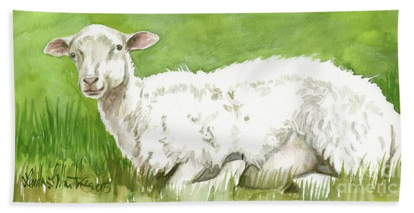 Lamb In Spring Hand Towel