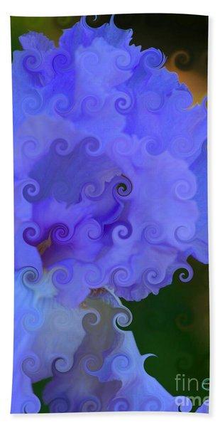Lavender Curlicue Iris  Bath Towel