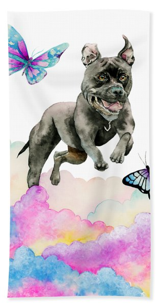 Leap - Pit Bull Dog, Rainbow Clouds, And Butterflies Hand Towel