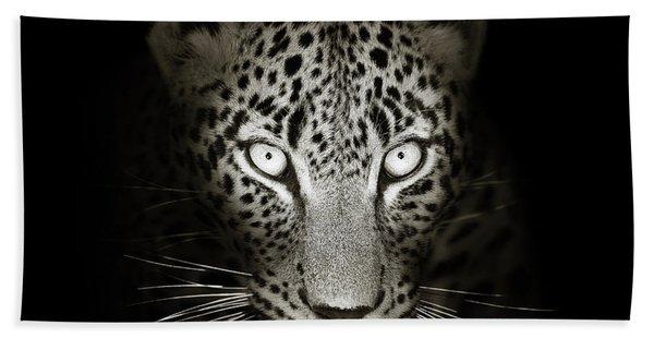 Leopard Portrait In The Dark Bath Towel