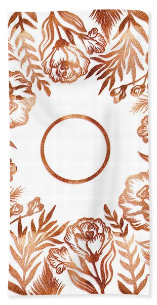 Letter O - Rose Gold Glitter Flowers Hand Towel