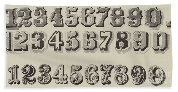 Letters And Numbers Hand Towel