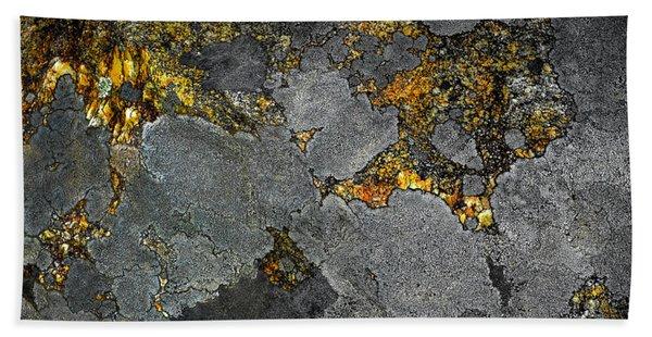 Lichen On Granite Rock Abstract Bath Towel