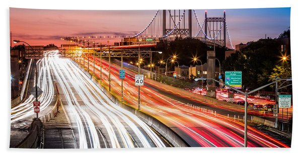 Hand Towel featuring the photograph Light Trails On I-278 Near Triboro Bridge by Mihai Andritoiu