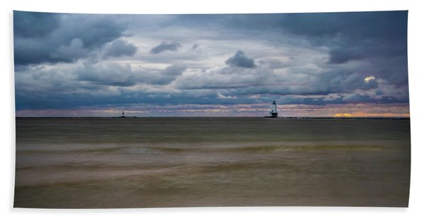 Lighthouse Under Brewing Clouds Bath Towel